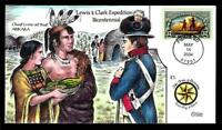 1 WONDER  COLLINS HAND PAINTED FDC W/ COVER 21 LEWIS & CLARK