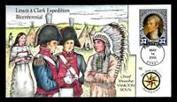 1 WONDER  COLLINS HAND PAINTED FDC W/ COVER 18 LEWIS & CLARK