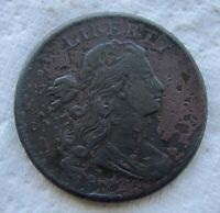 1802 1C BN DRAPED BUST LARGE CENT SHARP DETAIL CORRODED