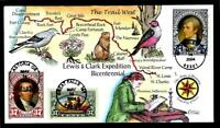 1 WONDER  COLLINS HAND PAINTED FDC W/ COVER 1 LEWIS & CLARK EXPEDITION  T133