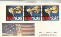 1909 $9.35 EAGLE & MOON BOOKLET PANE OF 3 ON FIRST DAY COVER