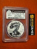 2011 P REVERSE PROOF SILVER EAGLE PCGS PR70 FIRST STRIKE FROM 25TH ANN SET BLACK