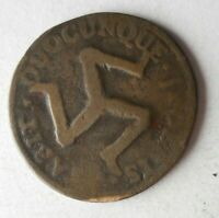 1758 ISLE OF MAN 1/2 PENNY   BIG VALUE RARE COIN   LOT S24