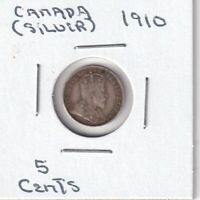 1910   5 CENTS CANADA SILVER COIN   GOOD   BX 5