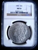 1901 MORGAN SILVER DOLLAR COIN, NGC AU-53 - HIGH GRADE FOR THIS R DATE