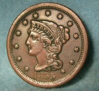 1855 BRAIDED HAIR LARGE CENT HIGH GRADE UNITED STATES COIN