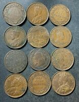 OLD CANADA COIN LOT   1859 1920   12 LARGE CENTS   EXCELLENT