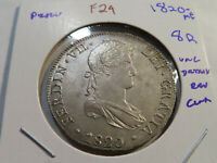 F29 PERU 1820 ME 8 REALES UNC CLEANED