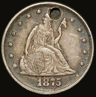 1875 U.S. SEATED LIBERTY 20 CENTS PIECE SILVER COIN   HOLED