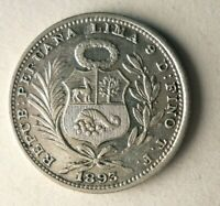 1893 TF PERU 1/5 SOL   LY  KEY DATE SILVER COIN   LOT O23