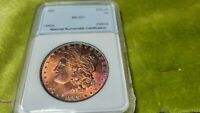 1889   1 TROY OUNCE MORGAN SILVER DOLLAR WITH A  TONING  ALL OVER OBVERSE