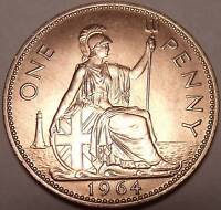 HUGE UNCIRCULATED GREAT BRITAIN 1964 PENNY EXCELLENT