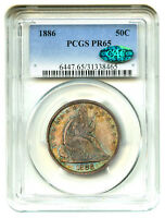 1886 50C PCGS/CAC PR 65   COLORFUL TONING   LIBERTY SEATED HALF DOLLAR