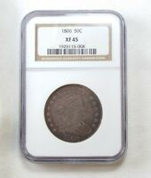 1806 DRAPED BUST/POINTED 6 WITH STEM SILVER HALF DOLLAR SLABBED NGC EXTRA FINE  45