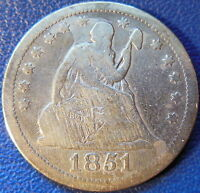 1851 SEATED LIBERTY QUARTER FINE F US COIN KEY DATE 10582