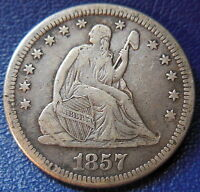 1857 O SEATED LIBERTY QUARTER FINE TO EXTRA FINE NEW ORLEANS 9942