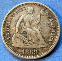 1869 S SEATED LIBERTY HALF DIME EXTRA FINE TO AU BETTER DATE US COIN 4817