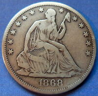 1868 S SEATED LIBERTY HALF DOLLAR FINE TO EXTRA FINE US COIN 5494