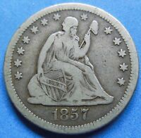 1857 O SEATED LIBERTY QUARTER / EXTRA FINE 3651