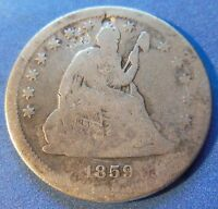1859 S KEY DATE SEATED LIBERTY QUARTER VG GOOD 2870