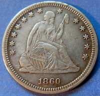 1860 SEATED LIBERTY QUARTER EXTRA FINE TO ABOUT UNCIRCULATED US COIN 5566