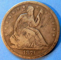 1871 S SEATED LIBERTY HALF DOLLAR GOOD TO FINE US COIN 5186
