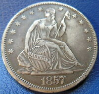 1857 O SEATED LIBERTY HALF DOLLAR EXTRA FINE TO ABOUT UNCIRCULATED US COIN 7623