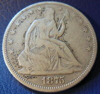1875 CC CARSON CITY SEATED LIBERTY HALF DOLLAR FINE TO EXTRA CLEANED 7703