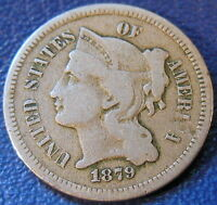 1879 THREE CENT NICKEL FINE TO EXTRA FINE US COIN KEY DATE 10679