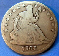 1866 S NO MOTTO SEATED LIBERTY HALF DOLLAR GOOD VG KEY DATE 4850