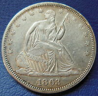 1863 SEATED LIBERTY HALF DOLLAR ABOUT UNCIRCULATED TO MINT STATE US COIN 7331