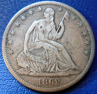 1862 S SEATED LIBERTY HALF DOLLAR FINE TO EXTRA FINE TONED US COIN 8807