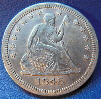 1846 SEATED LIBERTY QUARTER EXTRA FINE TO ABOUT UNCIRCULATED AU US COIN 9424