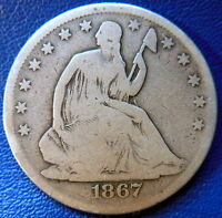 1867 SEATED LIBERTY HALF DOLLAR GOOD VG PHILEDELPHIA P MINT US COIN 8834