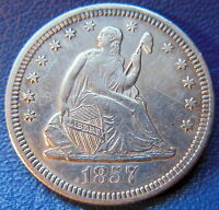 1857 O SEATED LIBERTY QUARTER ABOUT UNCIRCULATED AU BETTER DATE CLEANED 9439