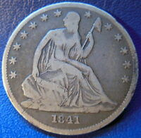1841 O SEATED LIBERTY HALF DOLLAR FINE TO FINE ORIGINAL US COIN 9510