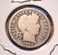 1902 BARBER DIME NICE CIRCULATED COIN WITH FULL RIMS AND UNCLEANED PATINA