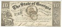 STATE GEORGIA MILLEDGEVILLE $10 1865 SIGNED ISSUED 21346 TRAIN BANK NOTE
