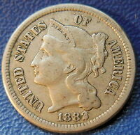 1882 THREE CENT NICKEL EXTRA FINE TO ABOUT UNCIRCULATED KEY DATE US COIN 9193