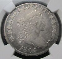 1806/5 6 OVER 5 DRAPED BUST HALF DOLLAR NGC F15 50 CENT 50C