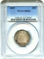 1859 25C PCGS MS62   LIBERTY SEATED QUARTER
