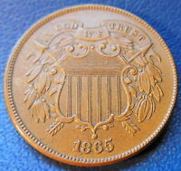 1865 TWO CENT PIECE UNCIRCULATED HIGH END MINT STATE BROWN BN US COIN 7468