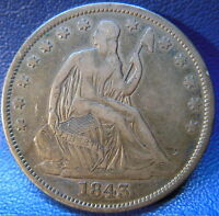 1843 O SEATED LIBERTY HALF DOLLAR FINE TO EXTRA FINE ORIGINAL US COIN 9640