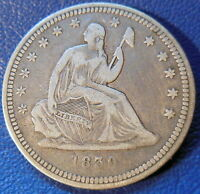 1839 SEATED LIBERTY QUARTER FINE TO EXTRA FINE NO DRAPERY US COIN 9777