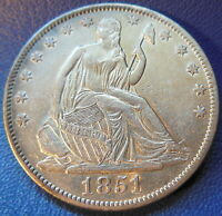 1851 O SEATED LIBERTY HALF DOLLAR ABOUT UNCIRCULATED TO MINT STATE US COIN 7608
