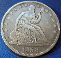 1858 S SEATED LIBERTY HALF DOLLAR FINE TO EXTRA FINE BETTER DATE COIN 8192