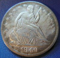 1848 O SEATED LIBERTY HALF DOLLAR EXTRA FINE XF NEW ORLEANS US COIN 7603