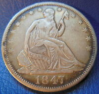 1847 O SEATED LIBERTY HALF DOLLAR EXTRA FINE XF NEW ORLEANS US COIN 7600