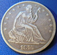 1875 CC CARSON CITY SEATED LIBERTY HALF DOLLAR EXTRA FINE XF SCRATCHED 8212