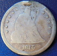 1865 SEATED LIBERTY QUARTER FINE VF US COIN DAMAGED 10585